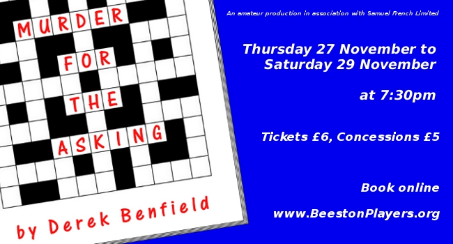 Beeston Players present Murder for the Asking by Derek Benfield Performing 27th-29th November 2014